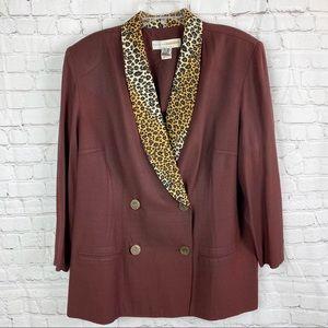 Vintage Brown Leopard Print Oversized Blazer